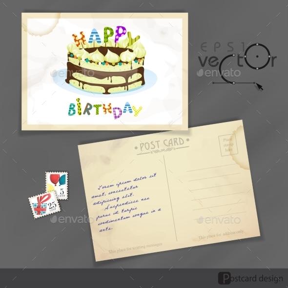 Old Postcard Design, Template - Birthdays Seasons/Holidays