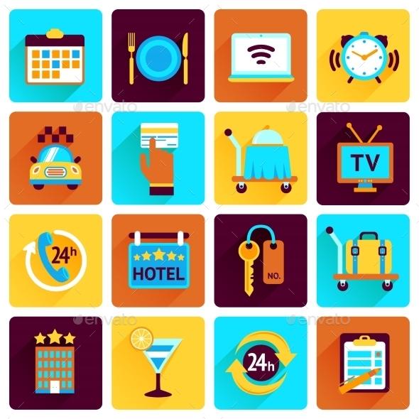 Hotel Icons Flat Set - Web Elements Vectors