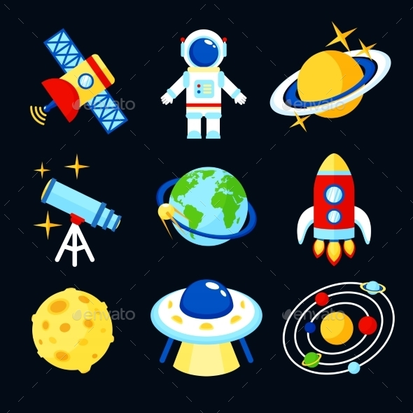 Space Icons Set - Web Elements Vectors
