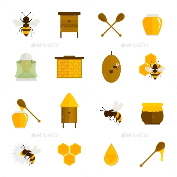 Bee Honey Icons Flat Set - Food Objects