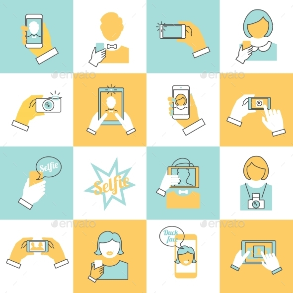Selfie Icons Flat Line - Web Technology