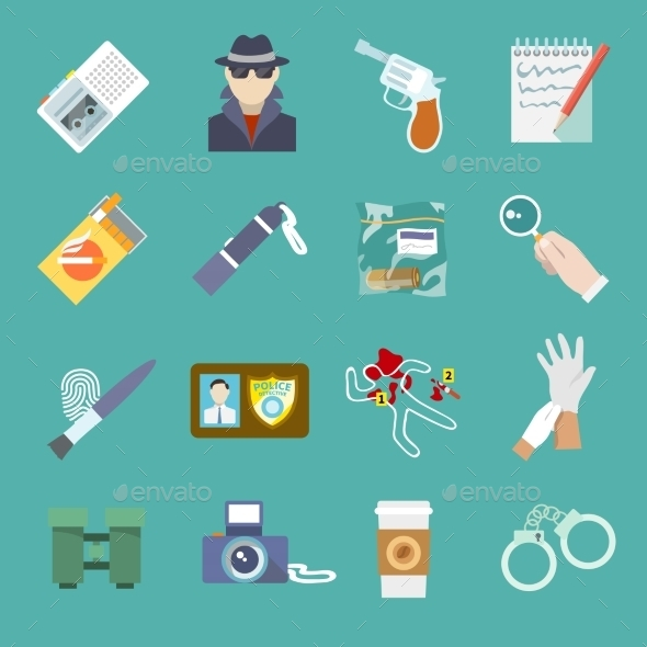 Detective Icons Set - Web Elements Vectors