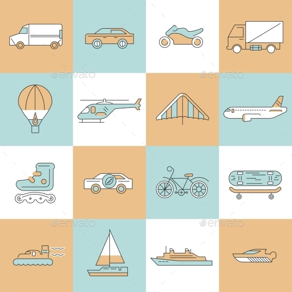 Transport Icons Flat Line Set - Web Technology