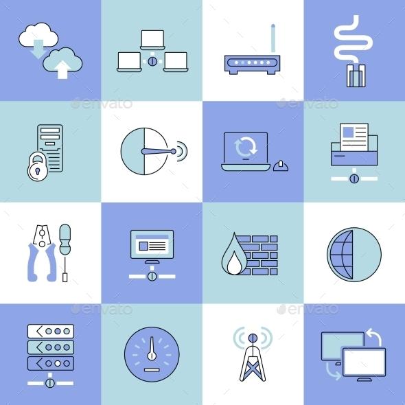 Network Icons Set Flat Line - Web Elements Vectors