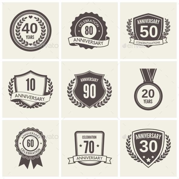 Anniversary Label Set - Web Elements Vectors