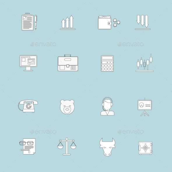 Finance Exchange Icons Flat Line - Web Technology