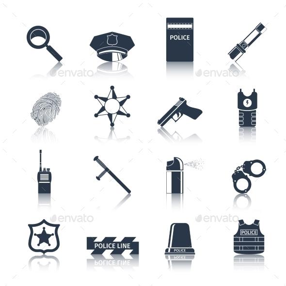 Police Icons Set Black - Web Elements Vectors