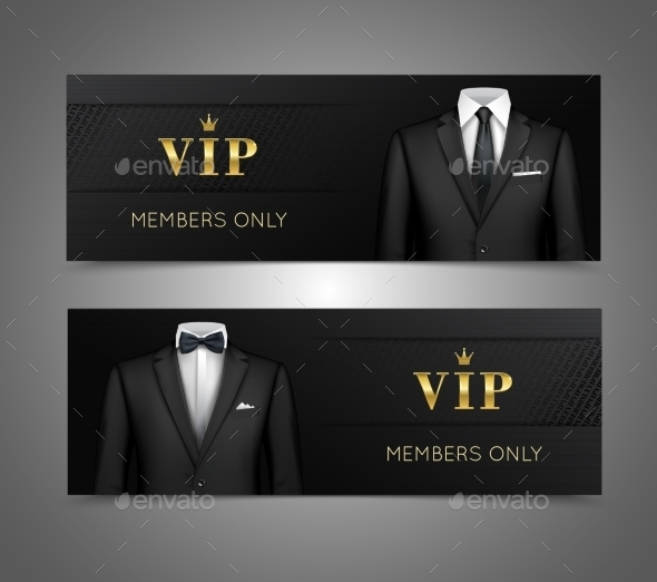Businessman Suit VIP Cards Horizontal Banners - Concepts Business