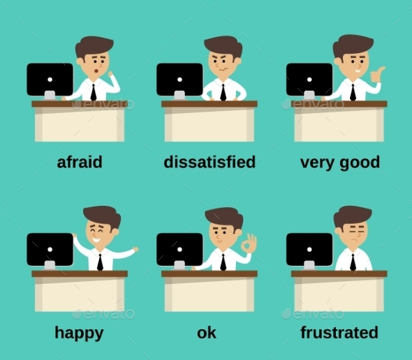 Businessman Emotions Set - People Characters