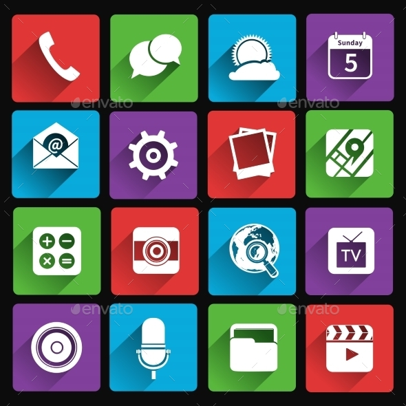 Mobile Applications Icons Flat - Web Elements Vectors
