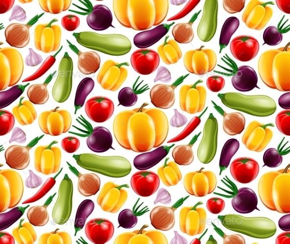 Vegetables Seamless Pattern - Food Objects