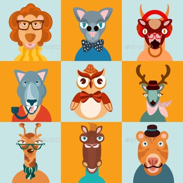 Hipster Animals Icons Flat - Animals Characters