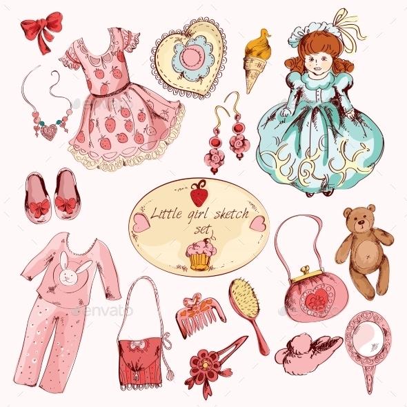 Little Girl Accessories Colored Items Set - Decorative Symbols Decorative