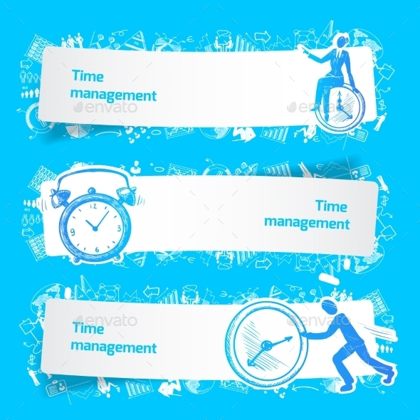 Time Management Set Banners Sketch - Concepts Business