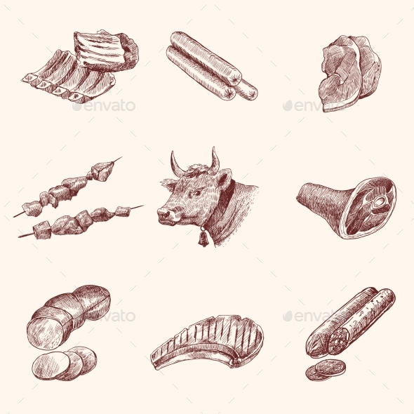 Sketch Meat Icons - Food Objects