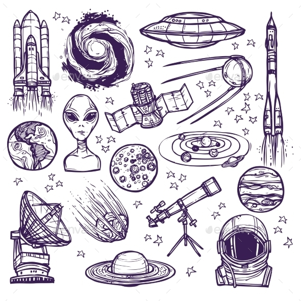 Space Sketch Set - Miscellaneous Vectors