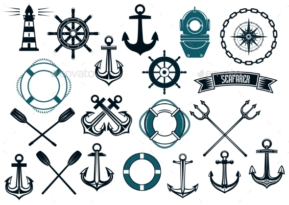 Nautical Themed Design Elements - Travel Conceptual
