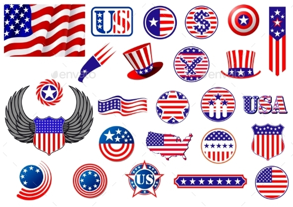 American Patriotic Badges - Decorative Symbols Decorative