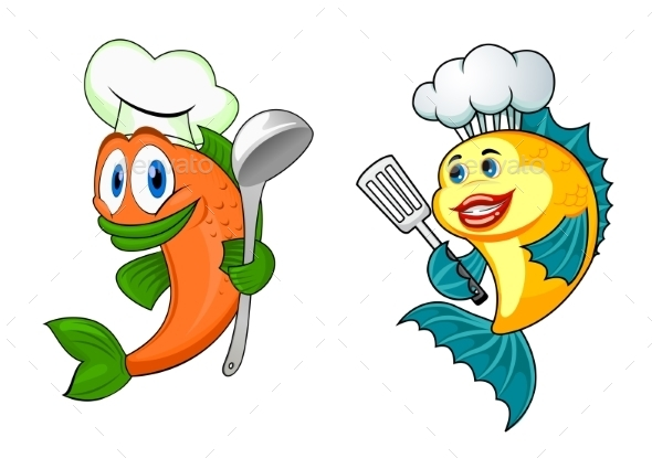 Cartoon Chef Fish Characters - Animals Characters