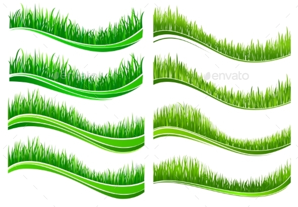 Green Colored Grass Borders - Flowers & Plants Nature