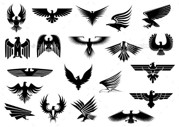 Heraldic Eagles, Falcons and Hawks Set - Miscellaneous Vectors