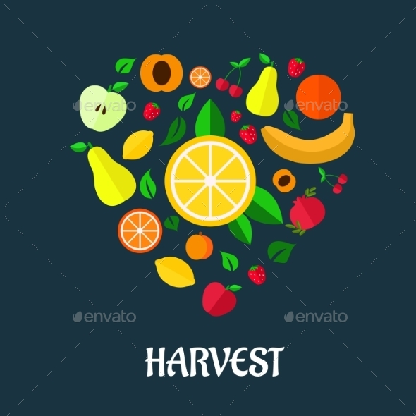 Fruits Harvest Flat Design - Food Objects