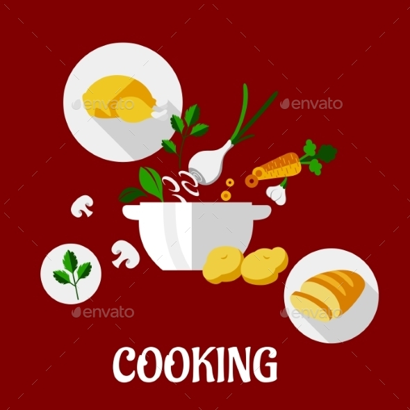 Cooking Flat Design - Food Objects
