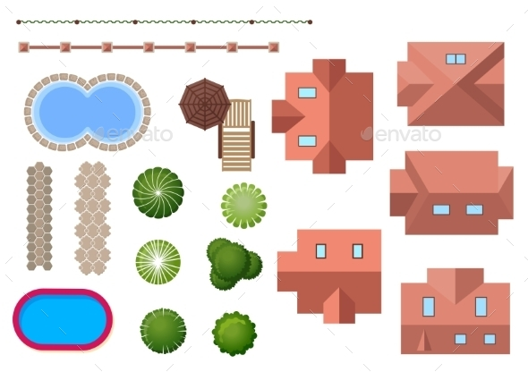 Home, Landscape and Property Elements - Buildings Objects