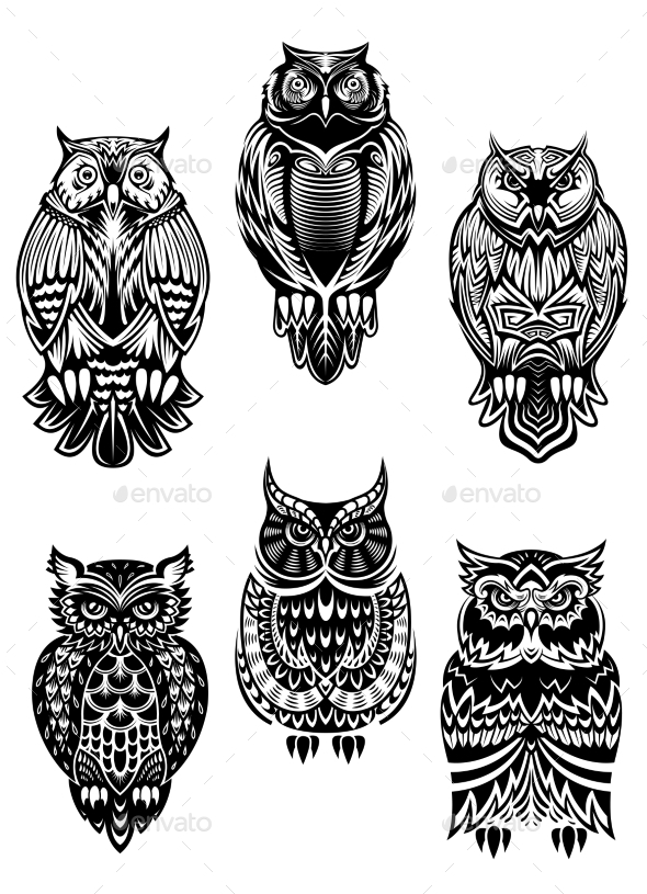 Tribal Owl Birds Set - Animals Characters