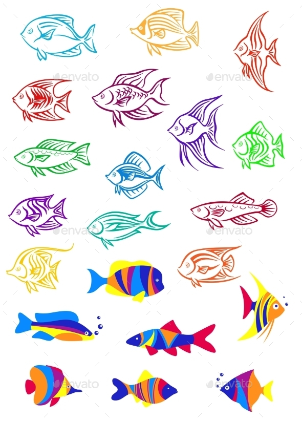 Colorful Cartoon Underwater Fishes - Animals Characters