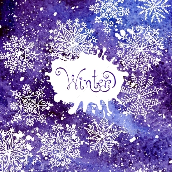 Winter background with snowflakes. Painting. Water - Christmas Seasons/Holidays