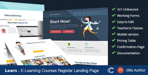 Learn – Unbounce Education Classes Landing Page