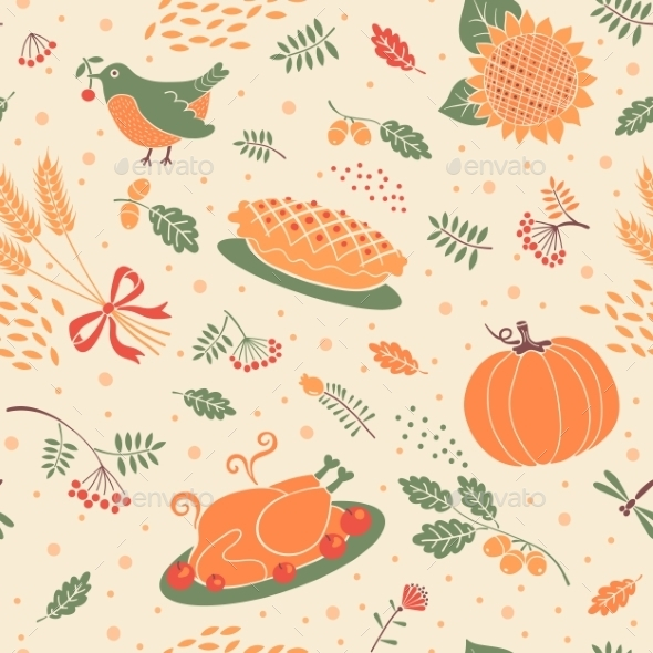 Pattern with Pumpkins - Seasons Nature