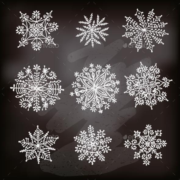 Hand Drawn Snowflakes - Christmas Seasons/Holidays