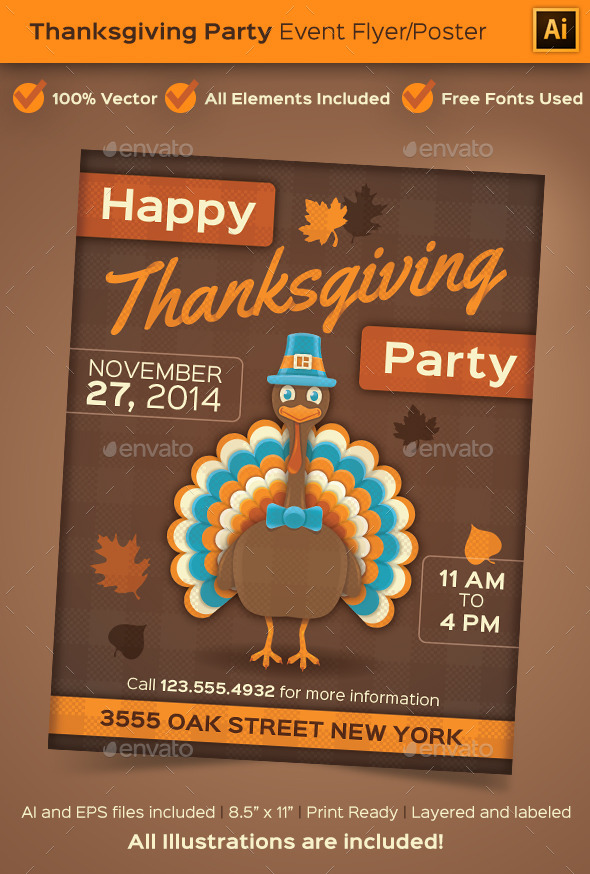 Thanksgiving Party Event Poster or Flyer - Holidays Events