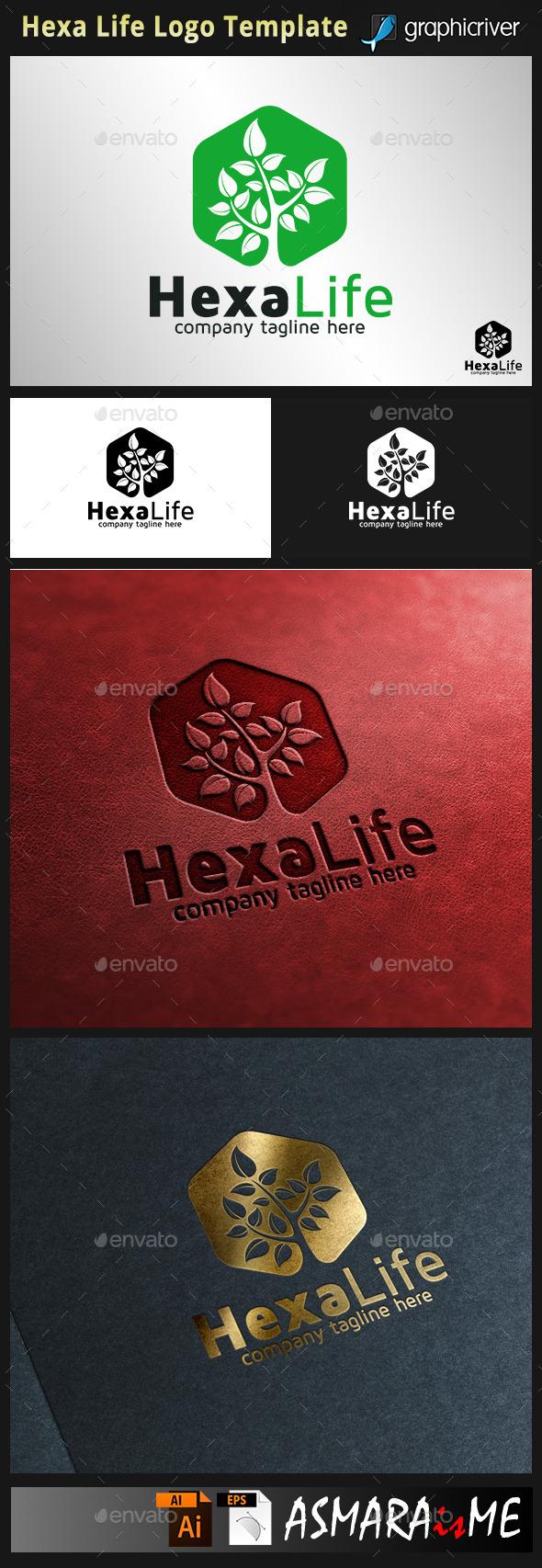Hexalife - Tree logo - Nature Logo Templates
