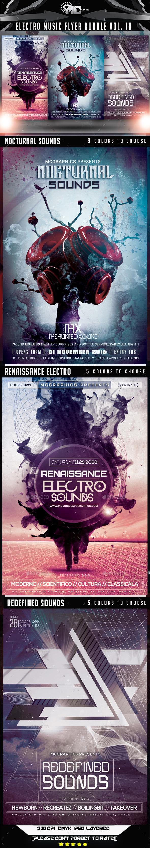 Electro Music Flyer Bundle Vol.18 - Clubs & Parties Events