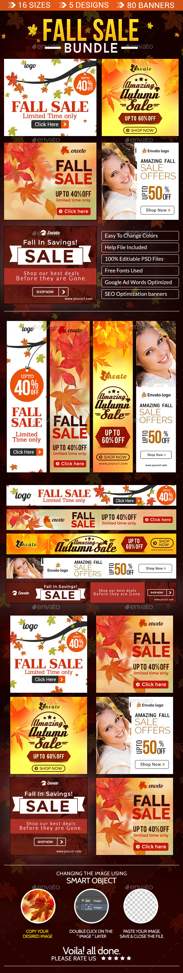 Fall Special Sale Banner Bundle - 5 Sets - Banners & Ads Web Elements