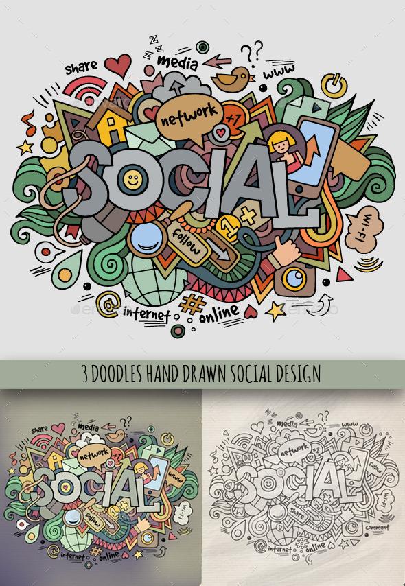 3 Social Doodles Designs - Technology Conceptual