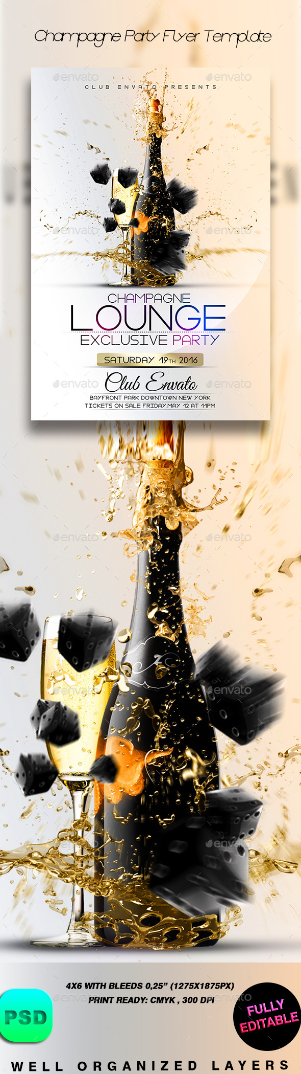 Champagne Party Flyer Template - Clubs & Parties Events
