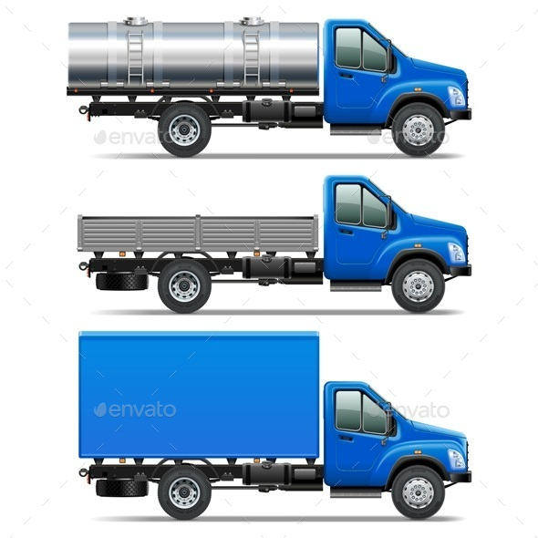 Vector Lorry Icons Set 2 - Industries Business