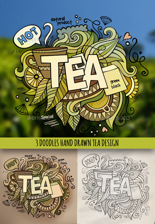 3 Tea Doodles Designs - Food Objects