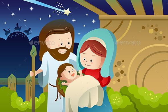 Joseph, Mary and Baby Jesus for Nativity Concept - Christmas Seasons/Holidays