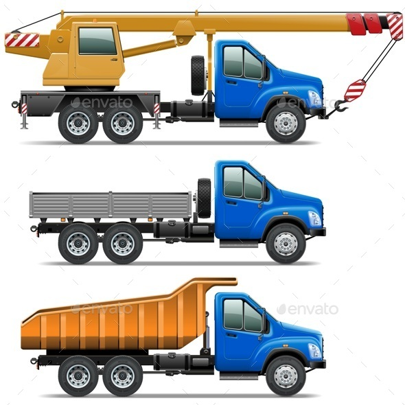 Vector Lorry Icons Set 3 - Industries Business
