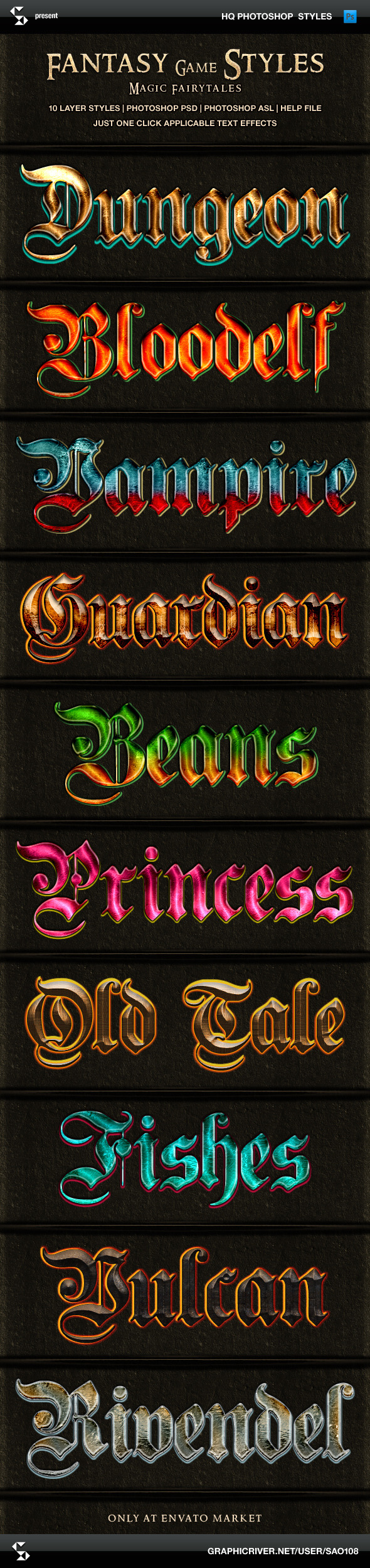 Fantasy Game Styles - Magic Fairy Tales - Text Effects Styles