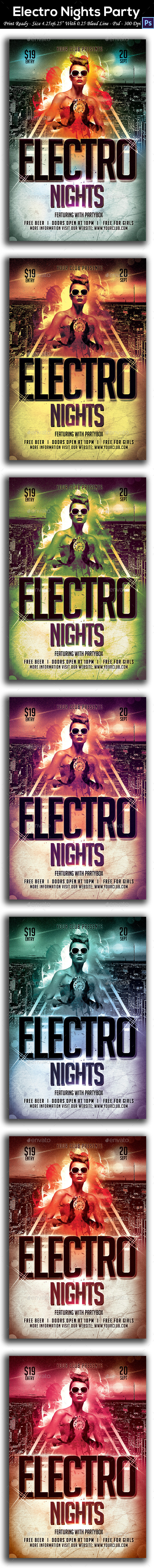 Electro Nights Party Flyer - Clubs & Parties Events