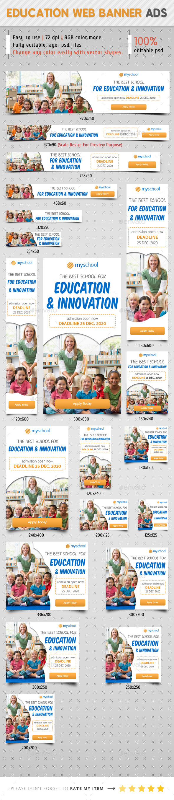 Education Web Banner Ads - Banners & Ads Web Elements
