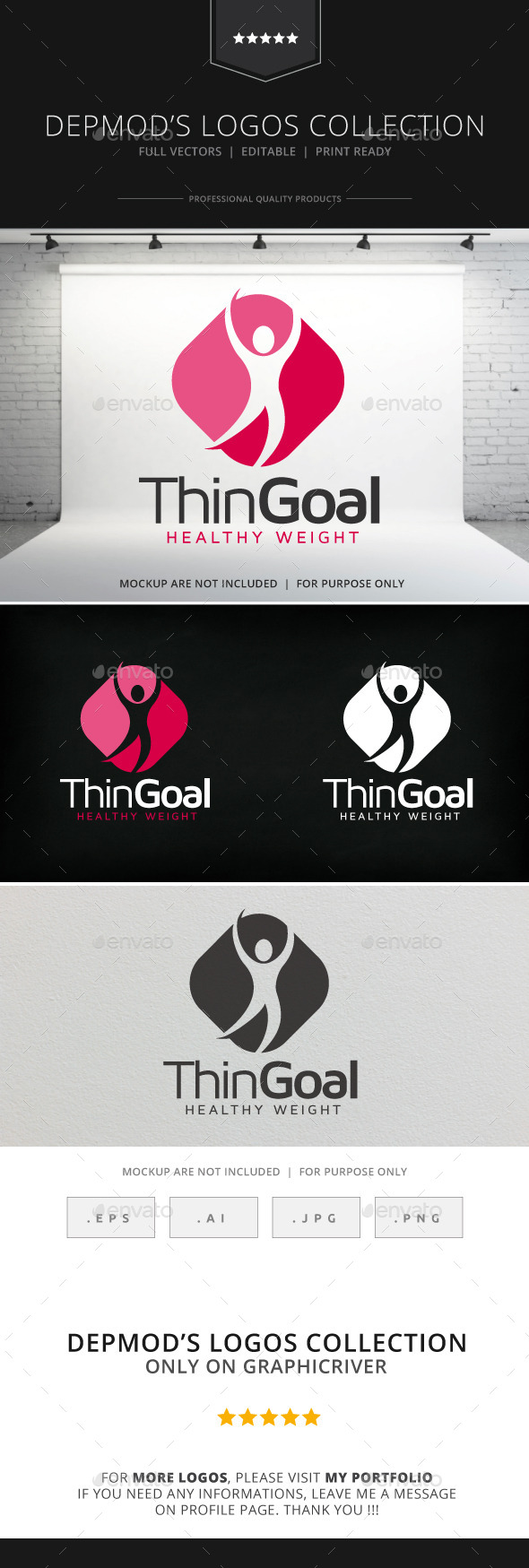 Thin Goal Logo - Humans Logo Templates