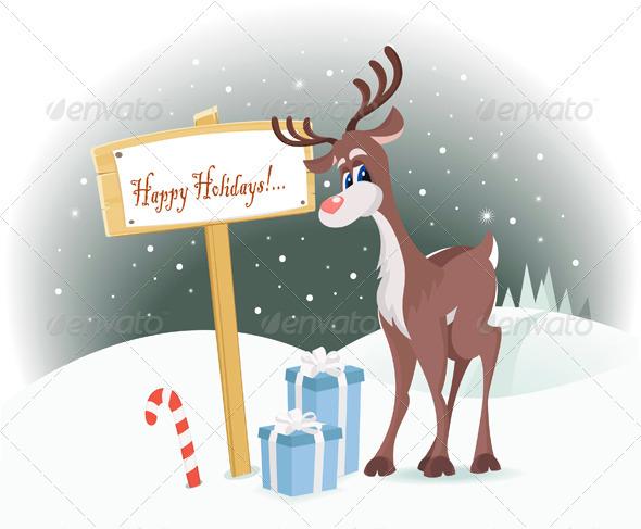 Rudolph Reindeer Happy Holidays - Christmas Seasons/Holidays