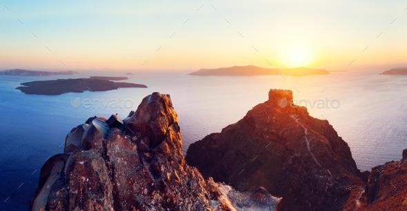 Cliff And Volcanic Rocks Of Santorini Island Greece View On Caldera